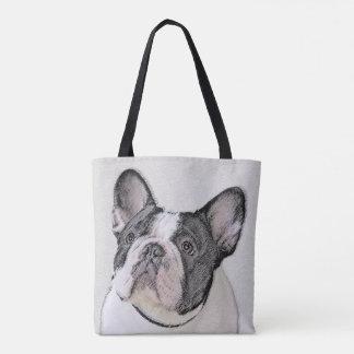 French Bulldog (Brindle Pied) Painting - Dog Art Tote Bag