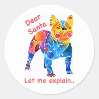 French Bulldog Christmas Classic Round Sticker