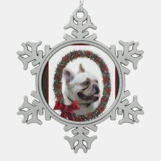 French Bulldog Christmas Snowflake Pewter Christmas Ornament