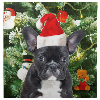 French Bulldog Christmas Tree Ornaments Snowman Napkin