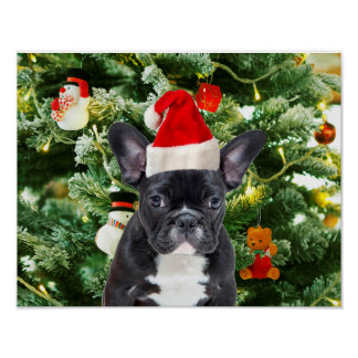 French Bulldog Christmas Tree Ornaments Snowman Poster