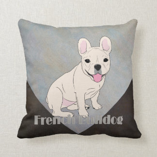 French Bulldog Coffee Brown Blue Ice Grunge Throw Pillow
