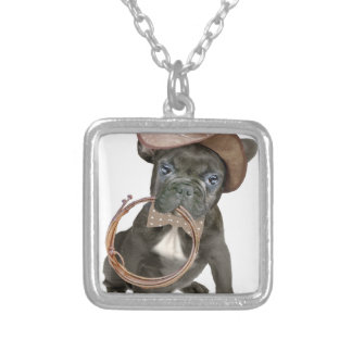 FRENCH BULLDOG country boy Silver Plated Necklace