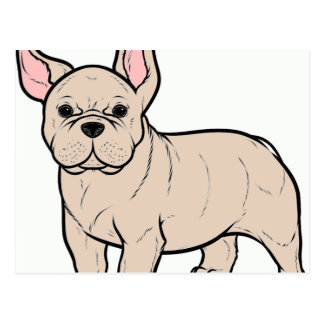 french bulldog cream cartoon postcard