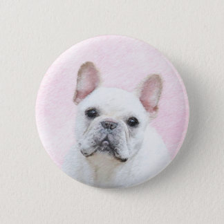 French Bulldog (Cream/White) Painting - Dog Art 2 Inch Round Button