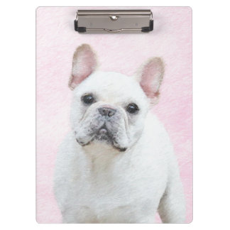 French Bulldog (Cream/White) Painting - Dog Art Clipboard