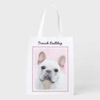 French Bulldog (Cream/White) Painting - Dog Art Reusable Grocery Bag