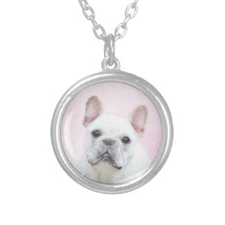 French Bulldog (Cream/White) Painting - Dog Art Silver Plated Necklace