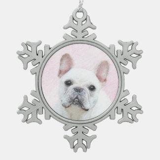 French Bulldog (Cream/White) Painting - Dog Art Snowflake Pewter Christmas Ornament