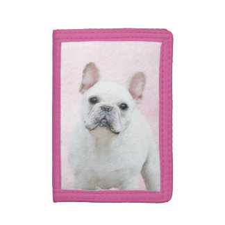 French Bulldog (Cream/White) Painting - Dog Art Trifold Wallet