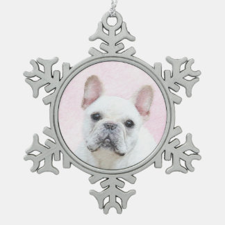 French Bulldog (Cream/White) Snowflake Pewter Christmas Ornament