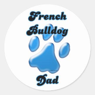 French Bulldog Dad Blue Pawprint - Sticker