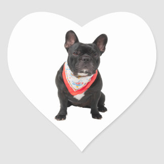 French Bulldog,  dog cute beautiful photo, gift Heart Sticker