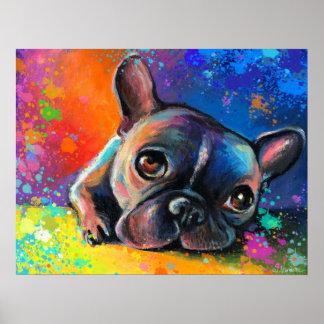 French bulldog dog portrait art framed print