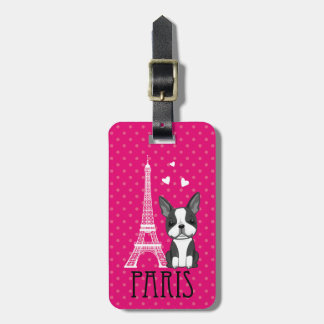 French Bulldog Eiffel Tower Paris Luggage Tag