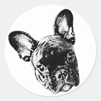 French Bulldog Face Classic Round Sticker