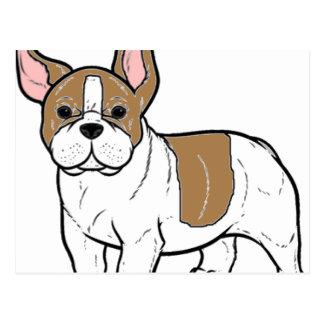 french bulldog faw and white cartoon postcard