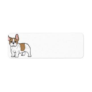 french bulldog faw and white cartoon return address label
