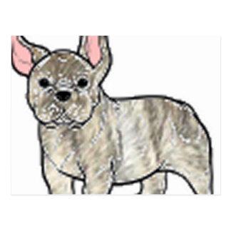 french bulldog fawn brindle cartoon postcard