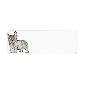 french bulldog fawn brindle cartoon return address label