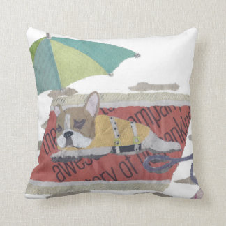French Bulldog, Fawn Pie Frenchie, Colorful, Beach Throw Pillow