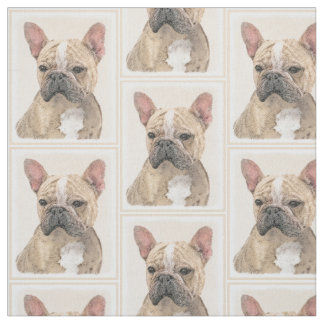 French Bulldog (Fawn Pied) Painting - Dog Art Fabric