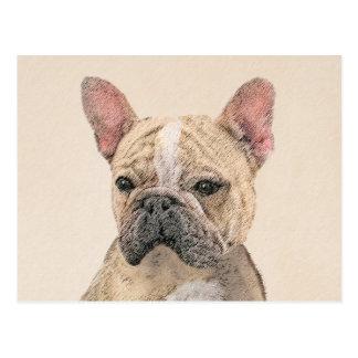 French Bulldog (Fawn Pied) Painting - Dog Art Postcard