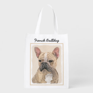 French Bulldog (Fawn Pied) Painting - Dog Art Reusable Grocery Bag