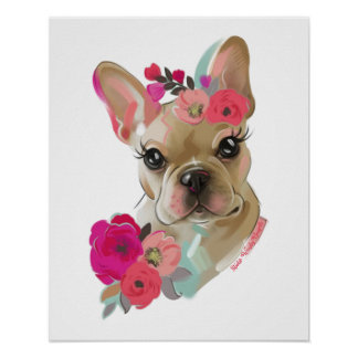 French Bulldog floral art dog poster