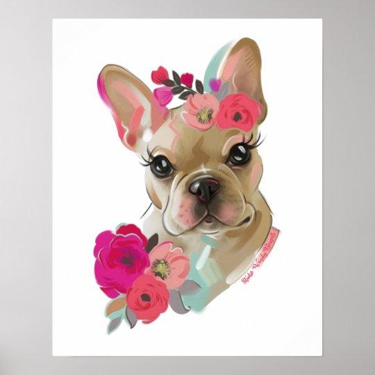 French Bulldog floral art dog poster