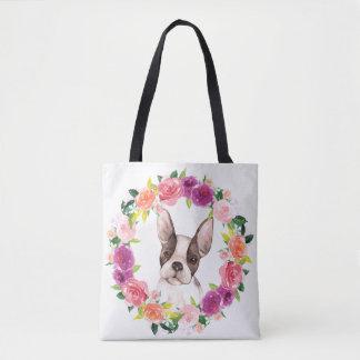 French Bulldog, Floral Wreath Tote Bag