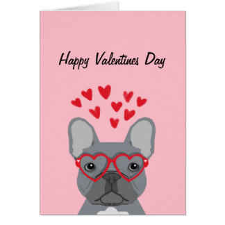 French Bulldog - grey valentines love card