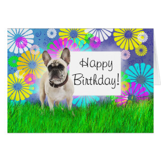 French Bulldog Happy Birthday Day Card