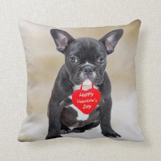 French Bulldog Happy Valentine's Day Pillow