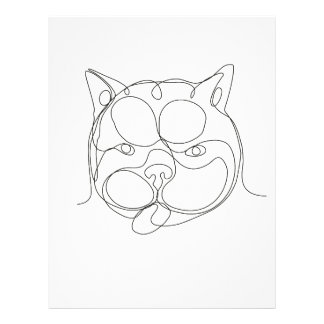 French Bulldog Head Continuous Line Letterhead