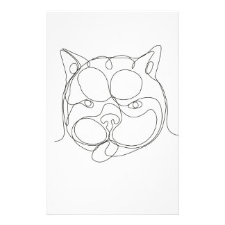 French Bulldog Head Continuous Line Stationery