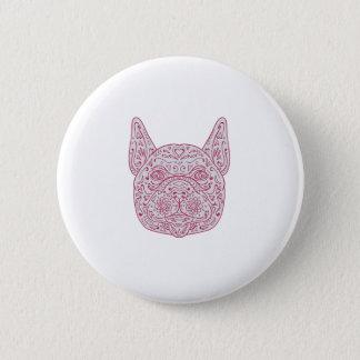 French Bulldog Head Front Mandala 2 Inch Round Button