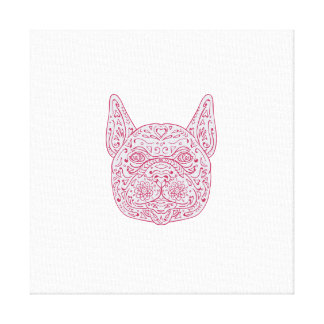 French Bulldog Head Front Mandala Canvas Print