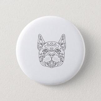 French Bulldog Head Mandala 2 Inch Round Button