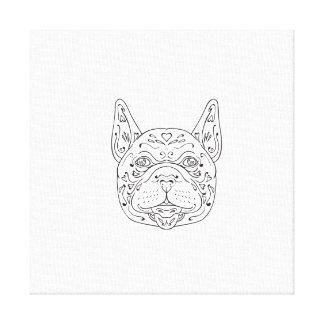 French Bulldog Head Mandala Canvas Print