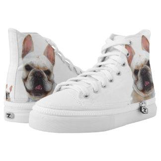 French Bulldog high top tennis shoes