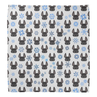 French Bulldog Holiday Bandana - White & Blue
