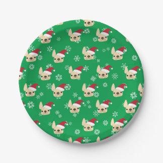 French Bulldog Holiday Paper Plates
