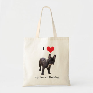 French Bulldog, I love heart,  tote bag, gift