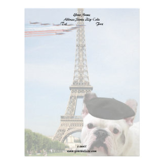 French Bulldog in Paris Letterhead