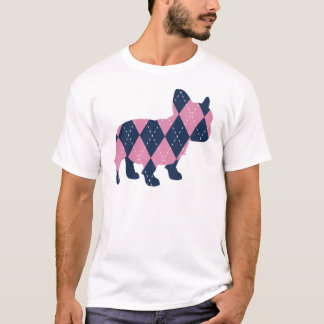 French Bulldog in Pink and Blue Argyle T-Shirt