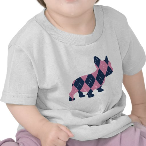 French Bulldog in Pink and Blue Argyle T Shirt