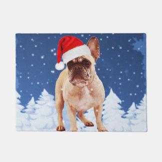French Bulldog in Snow Christmas w Santa Hat Doormat