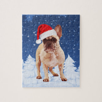 French Bulldog in Snow Christmas w Santa Hat Jigsaw Puzzle