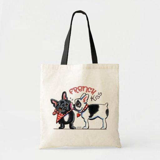French Bulldog Kiss Tote Bags